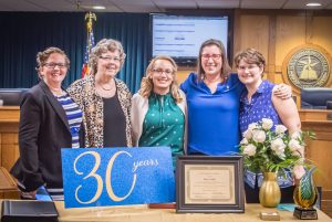 Autumn Rodge, Mary Kohls, Harmony Harkrider, Jennifer Palmer-Lee, and Katherine Lyon with Mary's recognitions for 30 Years of Service to Phi Theta Kappa. 4/28/2017 Image Credit: Jessica Cargill